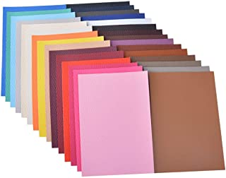 30 Pieces A5 Size Solid Color 1.2MM Thickness Litchi Grain Texture Synthetic Faux Leather Fabric Sheets Cotton Back for Ma...