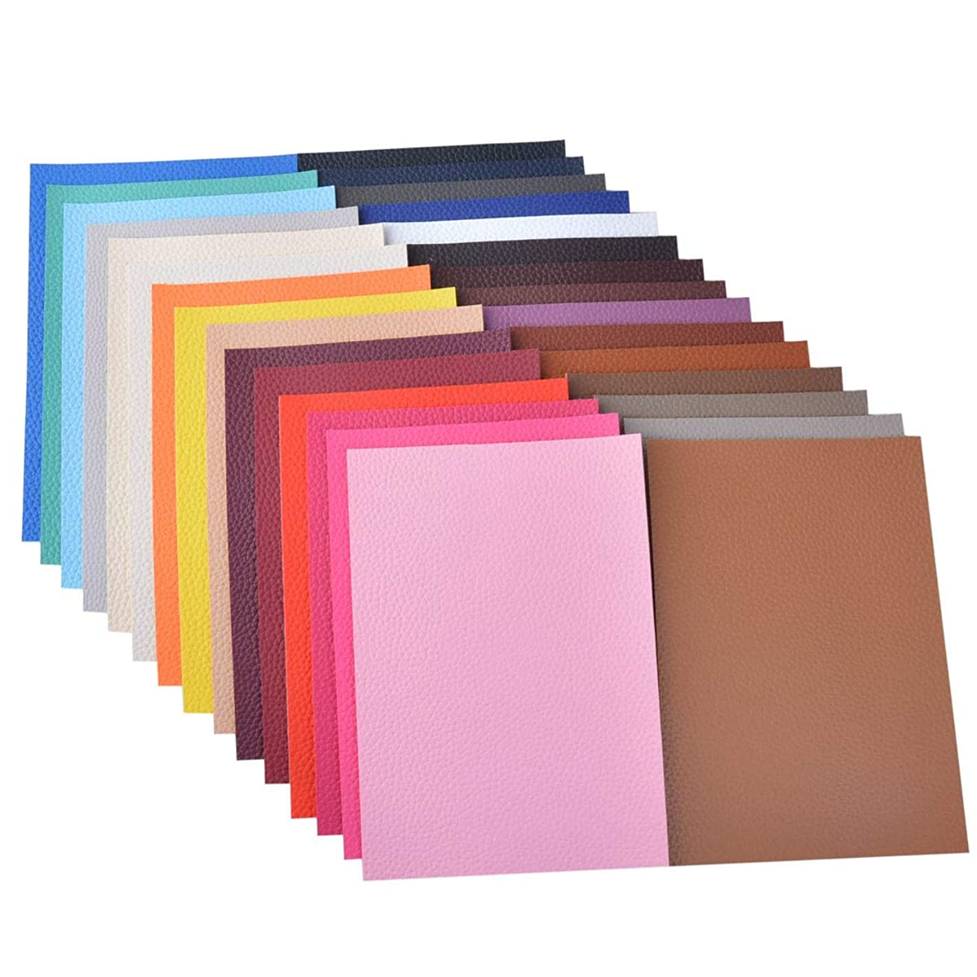 30 Pieces A5 Size Solid Color 1.2MM Thickness Litchi Grain Texture Synthetic Faux Leather Fabric Sheets Cotton Back for Making Hair Bows, Earrings, Placemats,30 Color Each Color One Sheet