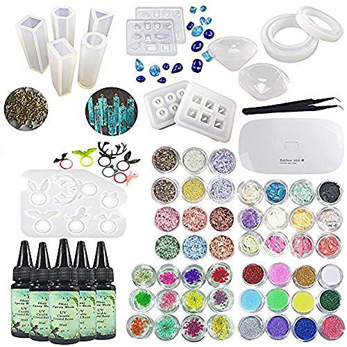 5 piezas de 30 ml de resina epoxi de cristal adhesivo UV, 14 piezas de silicona Transparant 100 piezas de anillos de oro accesorios de metal, mini pinza de lámpara 48 piezas de joyería pendientes