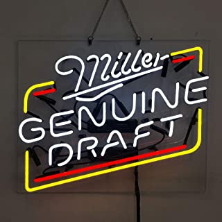 Miller Genuine Draft Real Glass Beer Bar Pub Store Party Room Wall Window Display Neon Signs 19x15