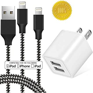 Boost Chargers, Portable 2.4A 2-Port Travel USB Charger with 3FT / 10 FEET Nylon Braided Extra-Long USB Charging Cable & Sync Cable, Fast Charge Plug Adapter Compatible with iPhone iPad iPod (3 Pack)