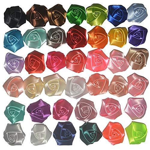 DSB 50pcs Handmade Mini Fabric Roses Flowers for DIY Headbands Clips