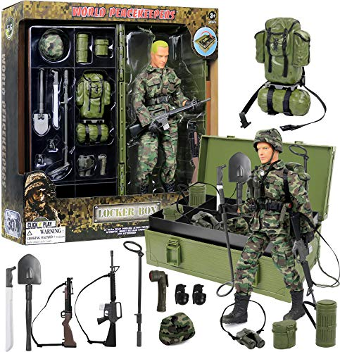 Click N' Play Military Desert Camping 12' Action Figure with Locker Storage Box Play Set with Accessories