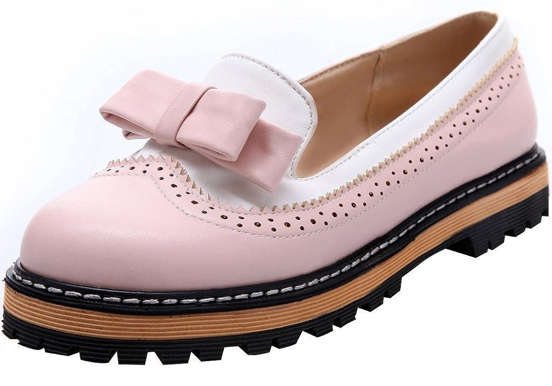軽物足りないピンク[leanna] Women 's Sweet CuteレザーラウンドトウプラットフォームBowオックスフォード靴