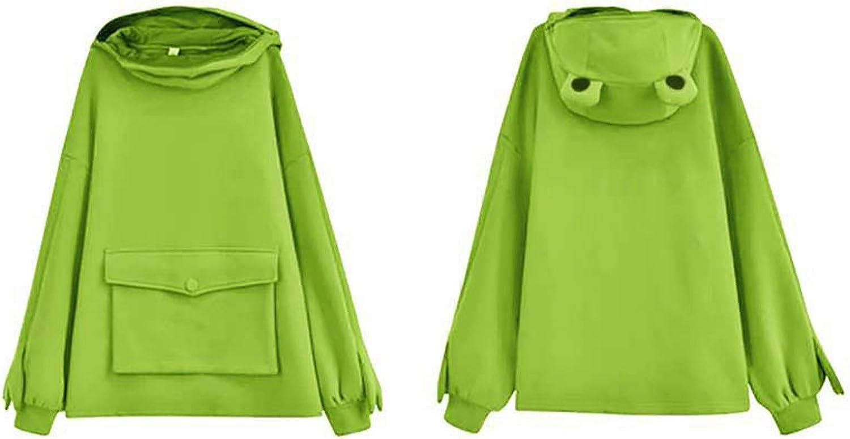 Creative Stitching Three-Dimensional Cute Frog Headgear Hoodie Sweatshirt MISEHUFU Girls Stitching Three-Dimensional Cute Design Pullover Sweatshirt