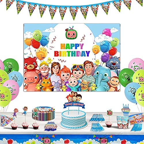 171 PCS online shopping Cocomelon Birthday Party Banner Miami Mall with 5 Supplies Custom