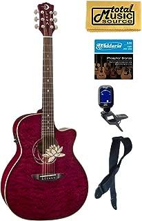 Luna FLO LOT QM Flora Series Lotus Quilted Maple Cutaway A/E Guitar Bundle
