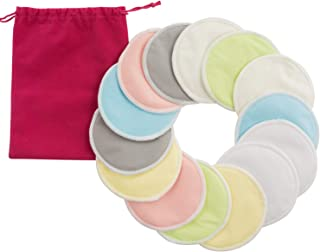 Bamboo Nursing Pads, Organic Eco-Friendly Washable Soft Leak-Proof High Absorben 14 Pcs Breast/Breastfeeding Pads for Mum with Carry Bag, Reusable Makeup Remover Pads for All Skin Types (7 Color)
