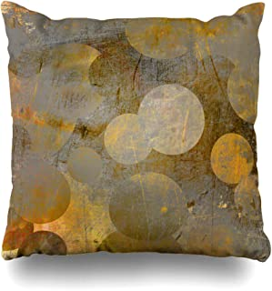 Ahawoso Throw Pillow Cover Grey Yellow Pattern Abstract Geometric Golden Circles Vintage Brown Modern Gold Wall Line Strip Decor Zippered Cushion Case 18
