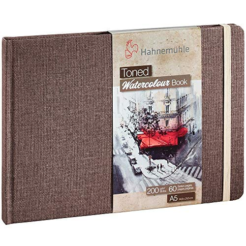 Hahnemühle Toned Watercolor Book - A5 9x6.6 Inch Tan Tinted Tinted Watercolor Sketchbook for Painting Drawing Sketching and Mixed Media - Professional 200 GSM Tan Toned Watercolor Paper Book