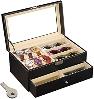 Flytianmy Leather Watch Box and Sunglass Glasses Case Organizer and Jewelry Case Display Drawer Lockable Case Organizer Black