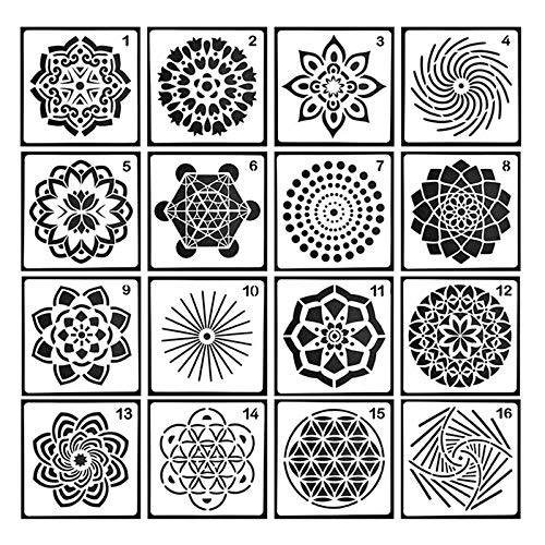 Pawaca 16 Stück Mandala Dotting Schablonen Schablonen – Verschiedene Muster, Punktmalvorlagen, Kunstwerkzeuge für DIY Steine, Wandkunst, Leinwand, Holzmöbel Malerei