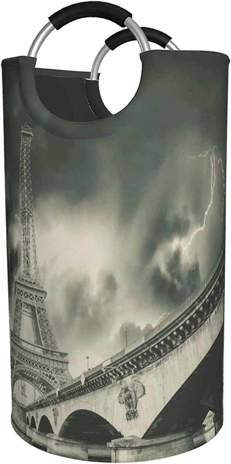Eiffel Tower Print Max 48% OFF Laundry Hamper NEW P Waterproof With Bag