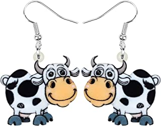 NEWEI Acrylic Anime Dairy Cattle Cow Earrings Dangle Drop Farm Pet Jewelry For Women Girl Charm Gift
