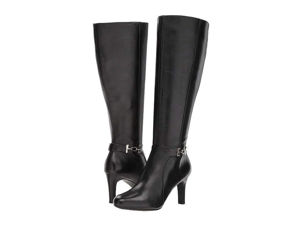 Bandolino Lamari Wide Calf Boot (Black Calf Leather) Women