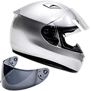 Snell M2015 Approved Full Face Motorcycle Helmet (Large - Silver)