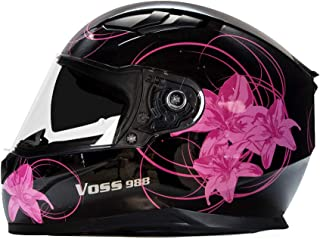 Voss 988 Moto-1 Lily Graphic Street Full Face Helmet with Drop Down Internal Sun Lens - S - Black/Pink Lily