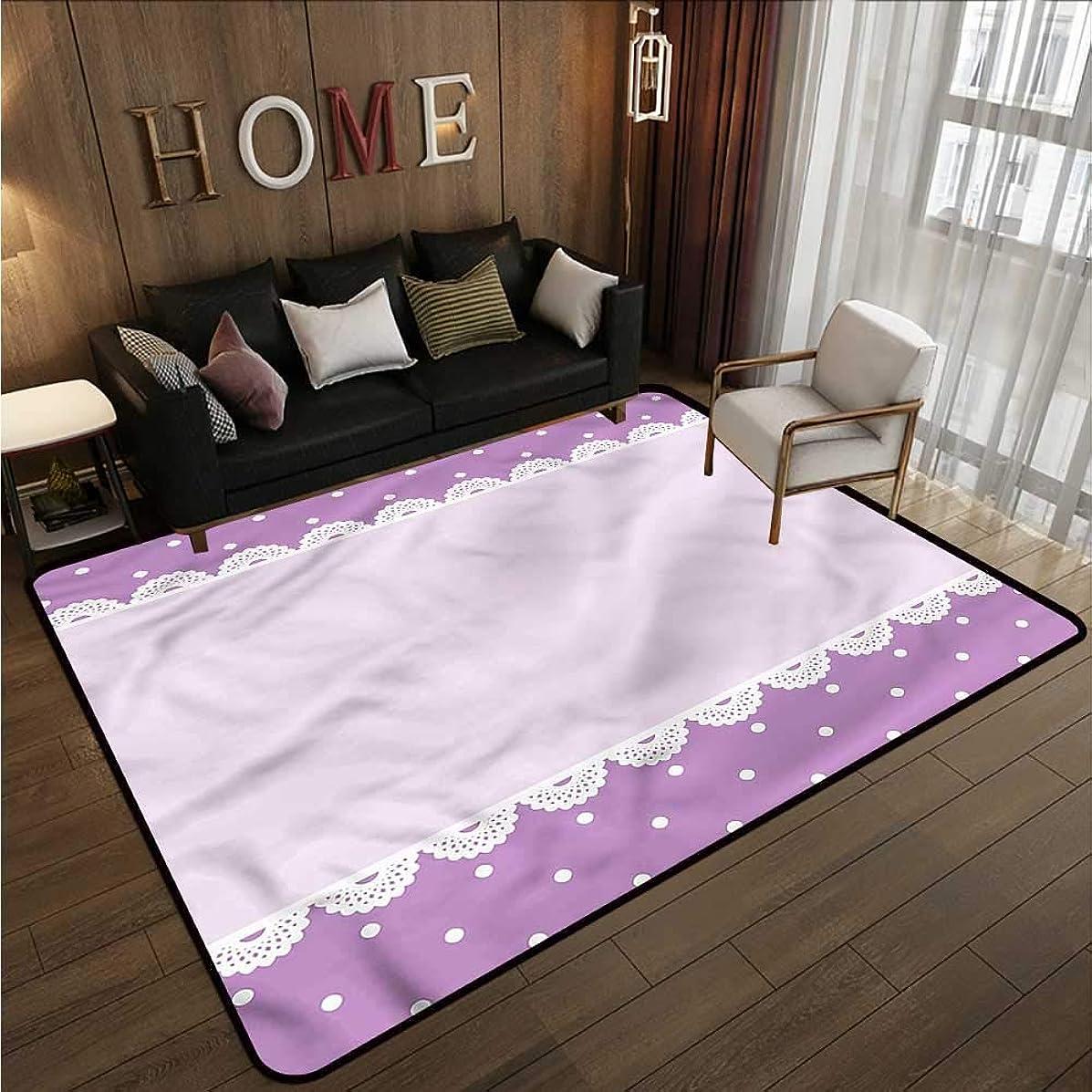 Kids Rug Mauve Old Lace Patterns Polka Children Crawling Bedroom Rug 4'7