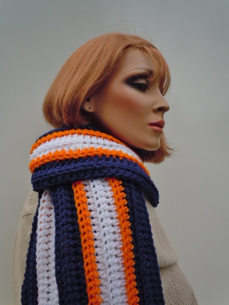 Sports Team Colors Scarf Navy Max 85% OFF White Football Orange Over item handling ☆ Blue