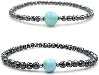 Lii Ji Natural Dominican Blue Green Larimar Hematite Beads 2pcs