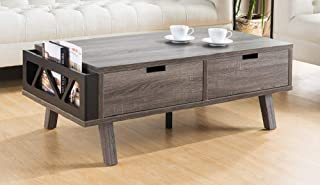 """Major-Q 16"""" H Modern Contemporary Style Coffee Table Distressed Gray Finish with Drawers and Magazine Holder, Id80151344ct"""