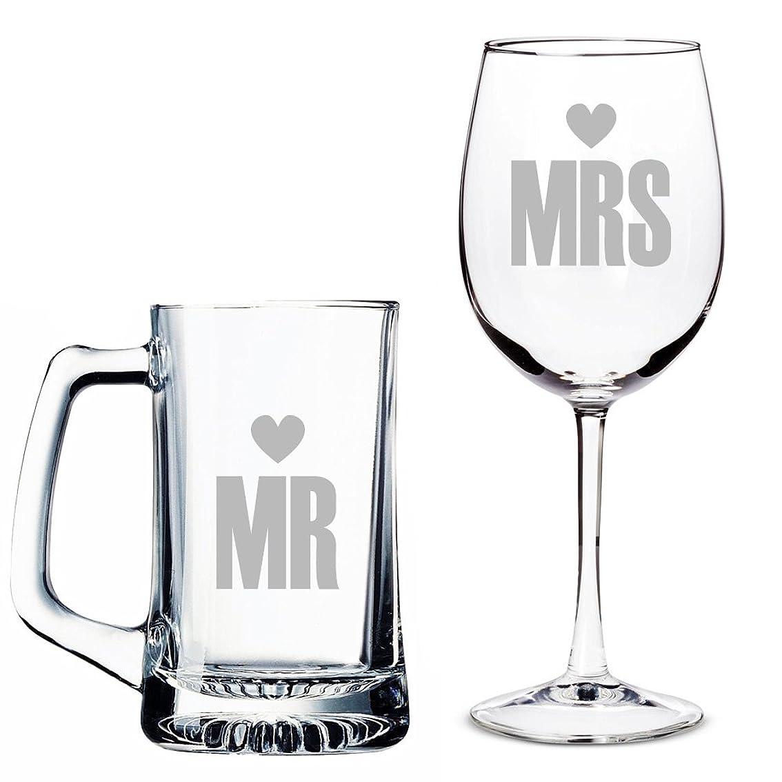 近代化するしたがって一流Mr。Heart Beer Mug And Mrsハートワイングラスセット