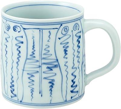 山下工芸 マグカップ 染付よろけ紋 φ7.5×10.5×H8cm 有田焼 マグカップ 化粧箱入 45026960