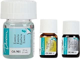 Duncan Overglaze Set Includes one each: Bright Gold OG801 , White Gold OG802, Essence OA901