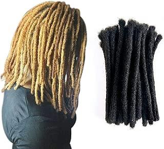 Human Hair Dreadlocks Extensions Handmade Locks Crochet Hair Extensions 60 Strands(Natural color 8inch Diameter 0.8cm)