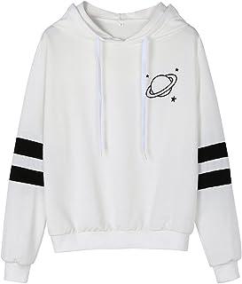 f99dbfc2a62ab FNKDOR Sweat À Capuche Femmes Pull à Manches Longues Impression Rayé  Encapuchonné Sweat-Shirt Hiver