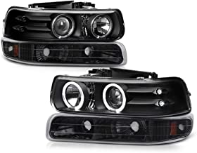 VIPMOTOZ Black LED Halo Ring Projector Headlight + Front Bumper Parking Turn Signal Lamp Housing Assembly Replacement For 1999-2002 Chevy Silverado 1500 2500 3500 & 2000-2006 Tahoe Suburban