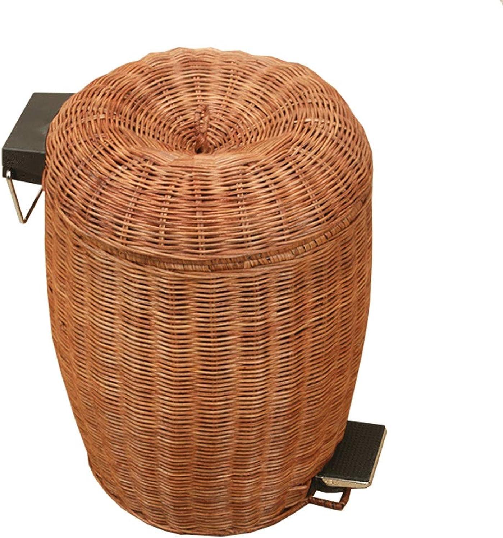 ahorra hasta un 50% FFLSDR Bote de Basura hogar Sala de de de Estar Dormitorio bao Rattan Pedestal Bote de Basura (Color   marrón, Talla   7.4 X 11.0in-3L)  mejor reputación