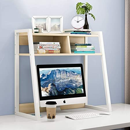 INDIAN DECOR. 45457 All New Living Room Bookcase Desktop Bookshelf Simple Desk On The Debris Books Storage Shelf Magazine Album Display Stand Double Bookcase 55x32x65cm Suitable for Home and Office