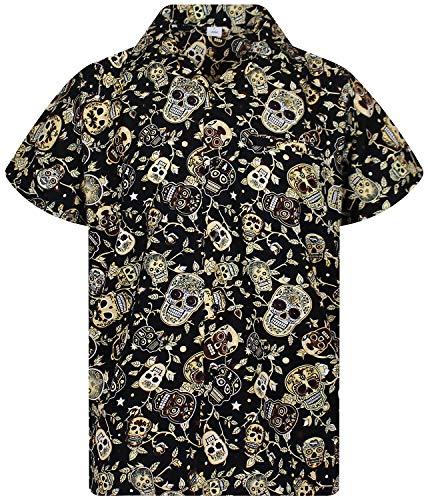 V.H.O. Funky Camisa Hawaiana, Skull, Sepia, XL
