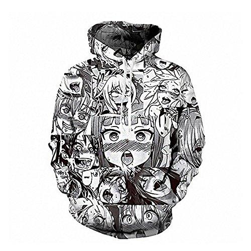 Men's Unisex Hoodies Sweatshirt Pullovers 3D Print Tracksuit Zip-up Jacket (Black-White Ahegao(Hoodie), L)