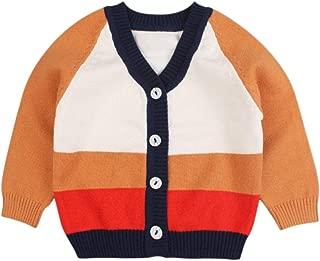 Zsedrut Casual Winter Boys Cardigan Long Sleeve V-Neck Striped Sweater for Girls Infant Toddler Boys Cloths