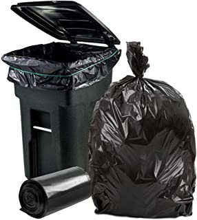 """Plasticplace 64-65 Gallon Trash Can Liners for Toter │ 2.0 Mil │ Black Heavy Duty Garbage Bags │ Rolls │ 49"""" x 59"""" (50 Count)"""