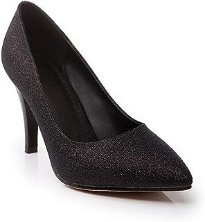 AllhqFashion レディース ポインテッドトゥ パンプス 靴 23.5cm 黒色 [並行輸入品]