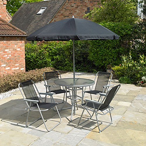Kingfisher FS6PB Promotional Set (6 Pieces), Black &, 4-Seater, Black and Silver