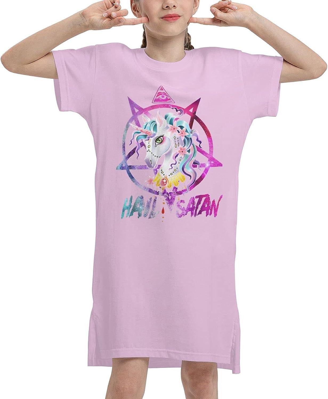 WAMEI Hail Satan Summer Girls Dress Casual Cotton Short Sleeve Skirt Dresses for Girls Kids 7-12 Years