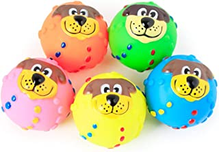 BIYI Pet Puppy Dog Squeaky Fetch Ball Toys Juguete masticable Resistente a la mordedura Juguete para masticadores agresivos Dise/ño de Bola Linda Bola peque/ña Puntiaguda Color Aleatorio