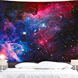 Wowzone Space Tapestry Starry Sky Galaxy 60x80 Inch Universe Tapestry Celestial Stars Purple Wall Hanging Bedding Wall Art Decor Bathroom Fabric Home Dorm Living Room