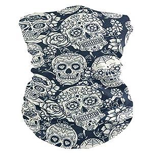 249 – Mascherina per viso con teschi, motivo floreale, bandana per copricapo, sciarpa sportiva, passamontagna con 2 filtri antiappannamento sostituibili in carta da uomo e donna