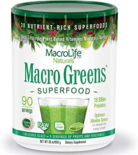 MacroLife Naturals Macro Greens Powder - 38 Superfood Mineral, Enzyme, Antioxidant & Herbal Blend - Plant-Based Immune, En...