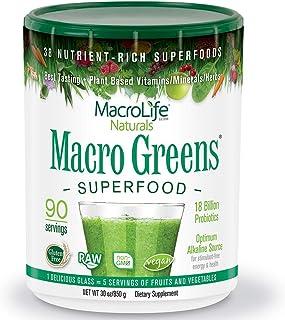 MacroLife Naturals Macro Greens Powder - 38 Superfood Mineral, Enzyme, Antioxidant & Herbal Blend - Plant-Based Immune, En...