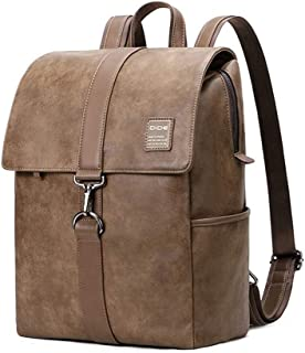 Young Man Leather Business 15.6 Inch Laptop Backpack with Buckle Closure (Color : Brown, Size : S)