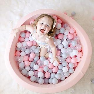 Wonder Space Deluxe Kids Round Ball Pit, Premium Handmade Kiddie Balls Pool, Soft Indoor Outdoor Nursery Baby Playpen, Ideal Gift Play Toy for Children Toddler Infant Boys & Girls (Light Pink)