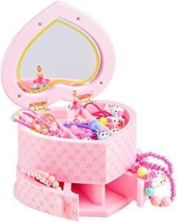BREIS Music Boxes for Girls, Musical Jewelry Storage Box with Spinning Ballerina Musical Jewelry Box for Girls, Cute Child Jewelry Box for Gift for Kids Pink (Pink)