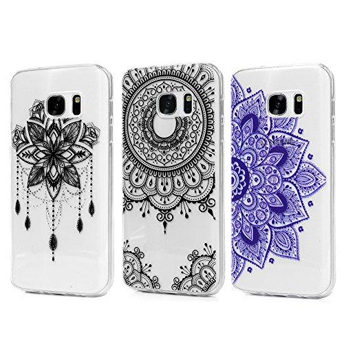 KASOS Coque pour Galaxy S7 Housse Case Bumper Étui Coque de Protection en TPU Soft Silicone Ultra Hybrid Ultra Mince Léger Modèle Dessin Housse pour Samsung Galaxy S7 -Totem Fleurs