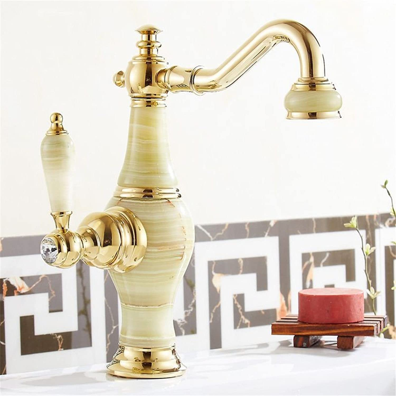 Lpophy Bathroom Sink Mixer Taps Faucet Bath Waterfall Cold and Hot Water Tap for Washroom Bathroom and Kitchen Hot and Cold pink gold Single Hole A